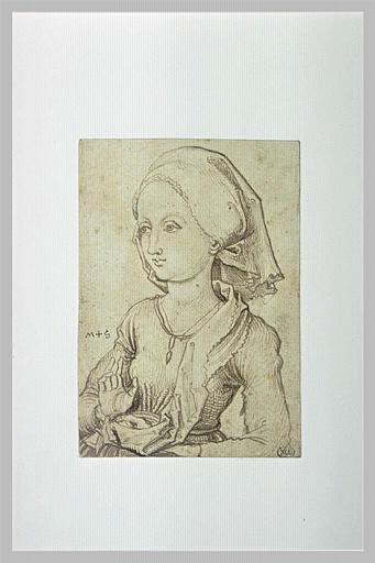 Buste de jeune fille, de trois quarts à gauche, une main levée