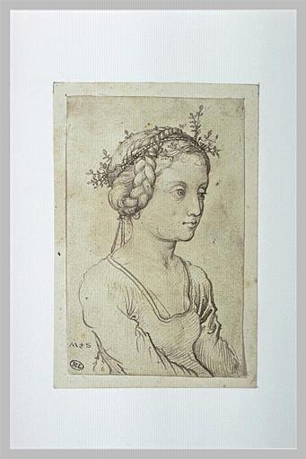 Buste de jeune fille, une couronne de feuilles dans les cheveux