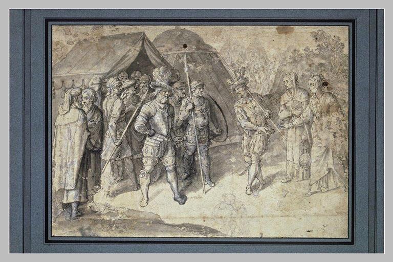 Coriolan, au camp des Volsques, recevant la visite de Véturie et de Volumnie