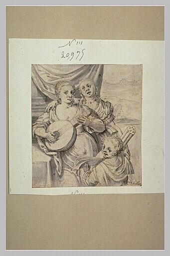 Deux jeunes filles faisant de la musique et un jeune enfant