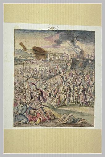 Après la prise d'une ville : soldats et prisonniers