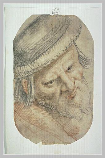 Tête d'homme barbu, de trois quarts vers la droite