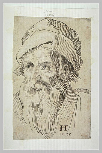 Tête de vieil homme, légèrement tourné vers la gauche
