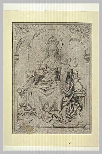 La Vierge, couronnée, et l'Enfant Jésus, sur un trône