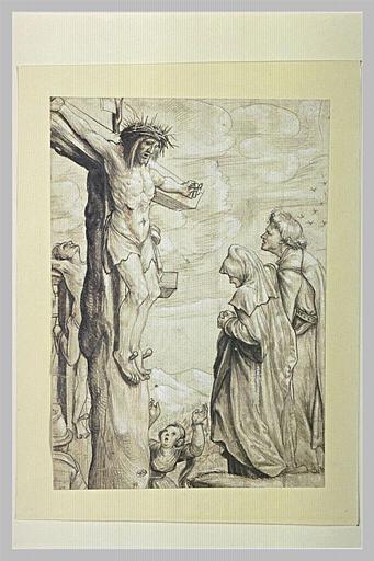 Saint Jean soutenant la Sainte Vierge devant le Christ en croix