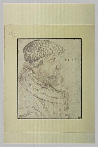 Buste d'homme barbu, vu de profil, tourné vers la droite