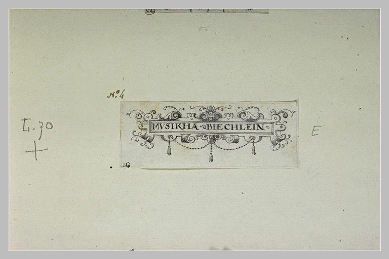 Cartouche où il est écrit : MUSIKHA  BIECHLEIN