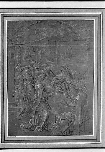 Hérodiade touche d'un couteau la tête de saint Jean-Baptiste