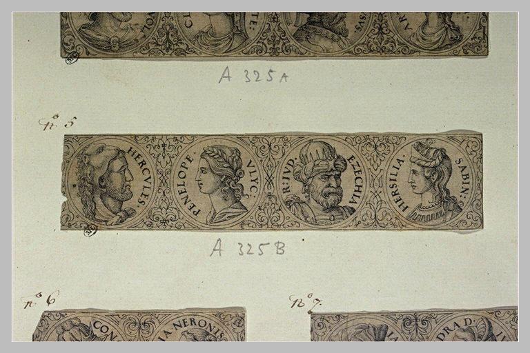 Quatre portraits en médaillons antiques