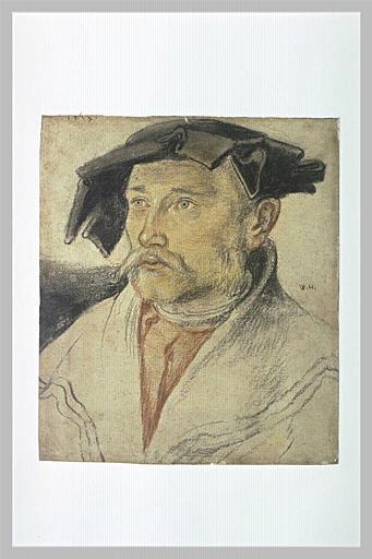 Portrait en buste d'un homme coiffé d'une barette