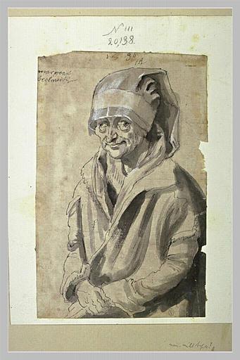 Portrait d'une vieille femme, à mi-corps, coiffée d'un bonnet