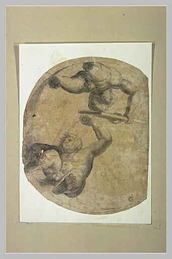 Deux hommes nus vus du dessous, étude pour un plafond