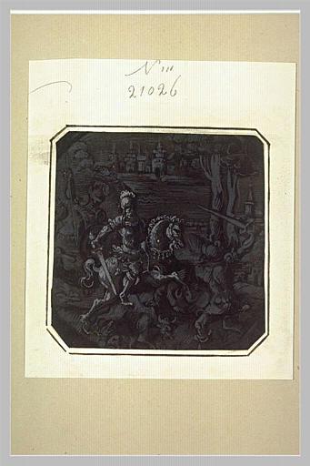 Cavalier combattant un guerrier à pied