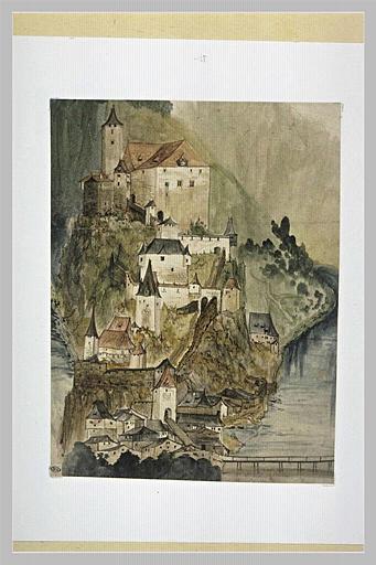 Château et hameau sur le flanc d'un éperon rocheux