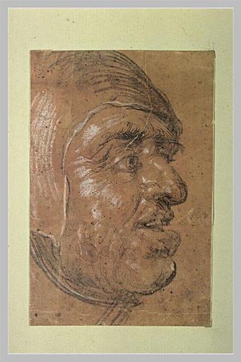 Tête d'homme vu de profil à droite, la bouche entrouverte