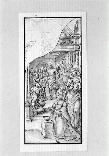 Aile d'un triptyque avec une donatrice, la Vierge et l'Enfant, le Christ