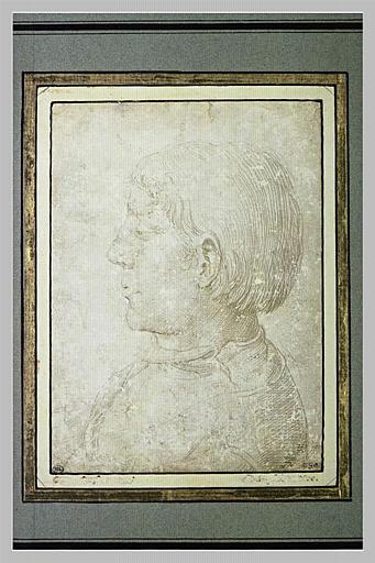 Buste de jeune garçon, vu de profil à gauche