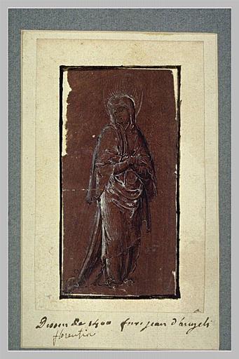 La Sainte Vierge debout, vue de face, les mains croisées sur la poitrine