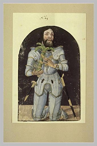 Figure d'un chevalier revêtu d'une cuirasse, en prière