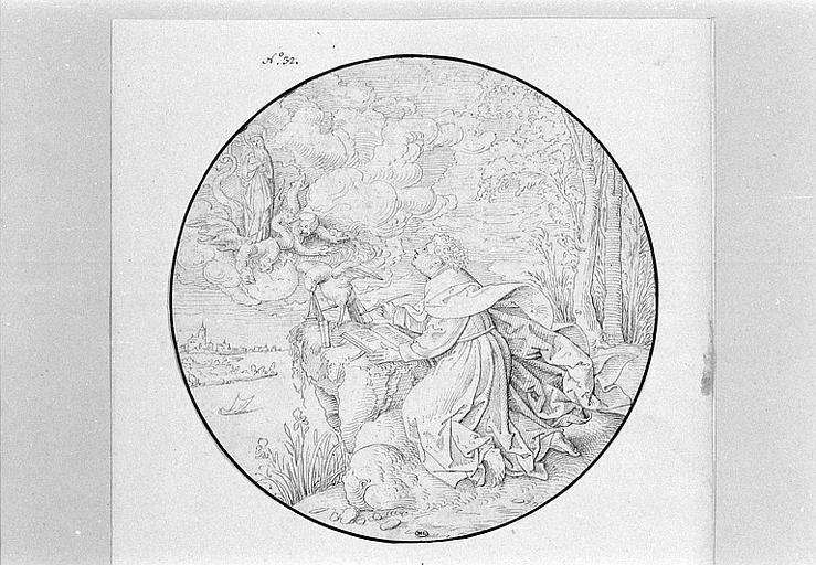 Saint Jean écrivant dans l'île de Patmos