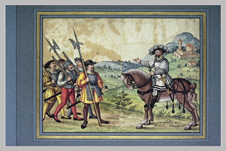 Un seigneur, dans un paysage, donnant des ordres à cinq hommes