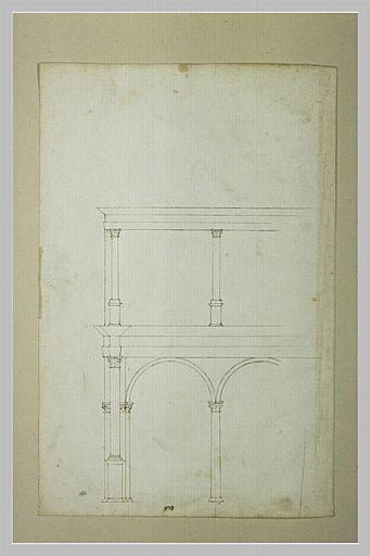 Fragment de palais avec deux arcades au rez-de-chaussée