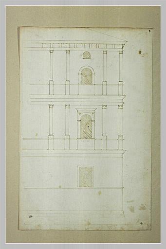 Angle d'un palais à deux étages sur un double soubassement