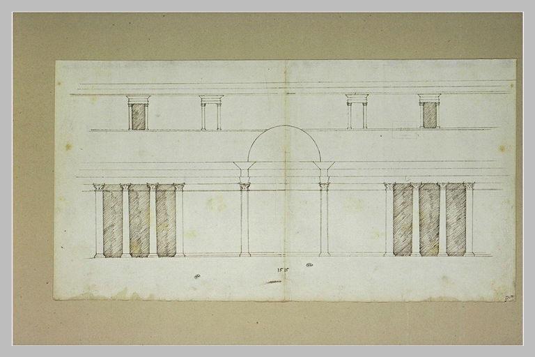 Projet de façade de palais, avec une immense porte au rez-de-chaussée