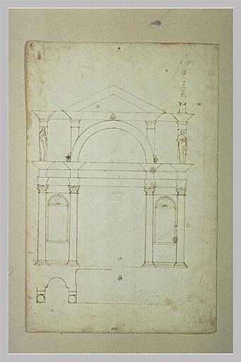 Esquisse d'une arcade de palais avec grande porte