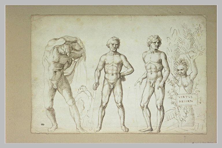 Trois figures d'Hercule jeune, une nymphe changée en saule, un satyre