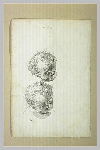 Etude de deux têtes d'enfant