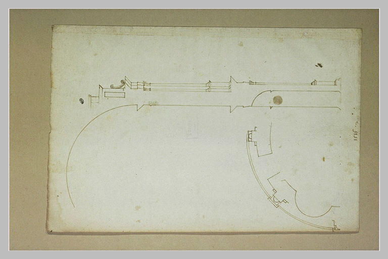 Coupe et plan de l'abside du choeur de la cathédrale de Bamberg