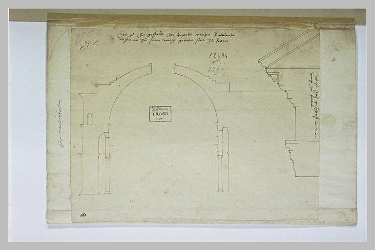 Coupe verticale du Panthéon de Rome et profil d'un entablement