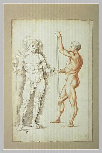 Feuille de deux académies d'hommes debout, l'un de face, l'autre de profil