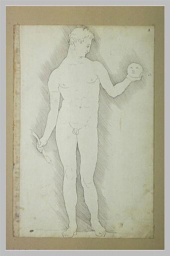 Apollon tenant un arc brisé, et le masque de la lune