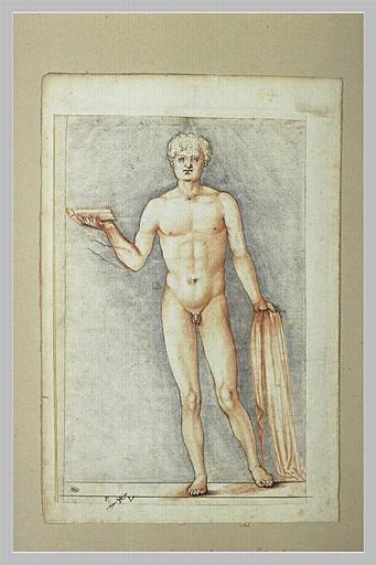 Académie d'homme tenant un livre et un voile