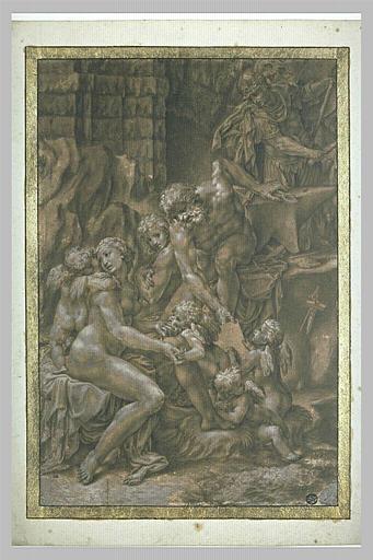 Vénus et les amours dans la forge de Vulcain et Mars apportant ses armes