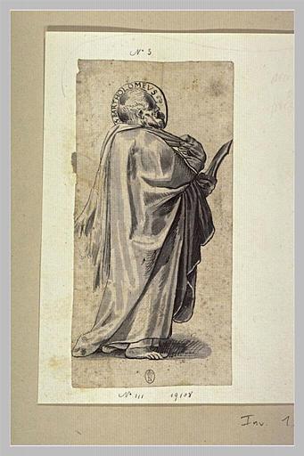 Saint Barthélemy debout, vu de profil