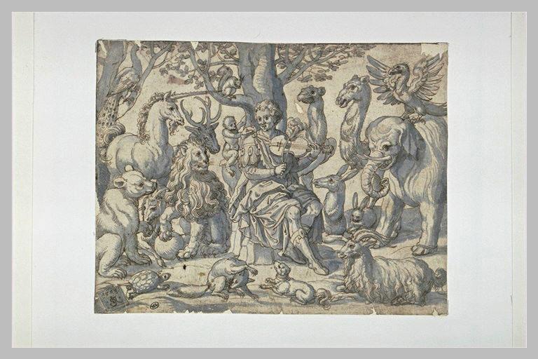 Orphée assis, jouant du violon, entouré d'animaux