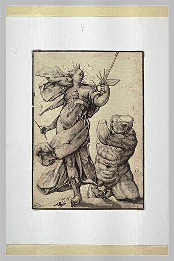 Figure allégorique de la Peinture avec, à droite, un débris de statue