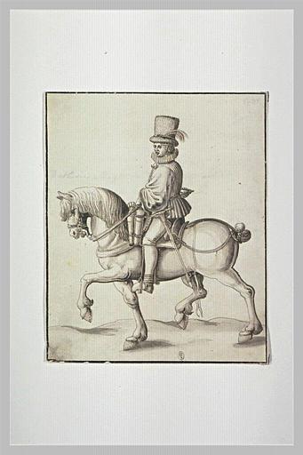 Un cavalier se dirigeant sur la gauche