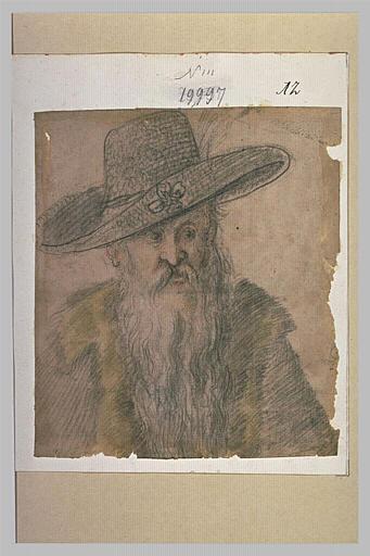 Buste d'un homme à la longue barbe, portant un large chapeau et une fourrure