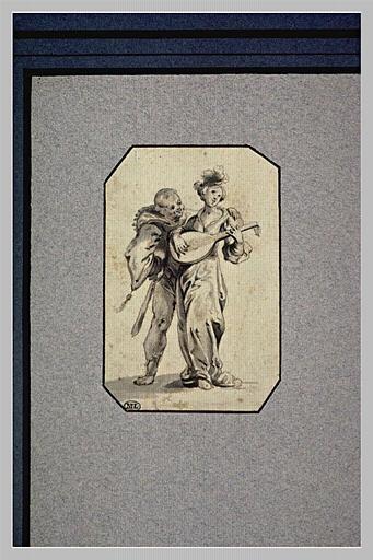 Un polichinelle et une femme jouant du luth