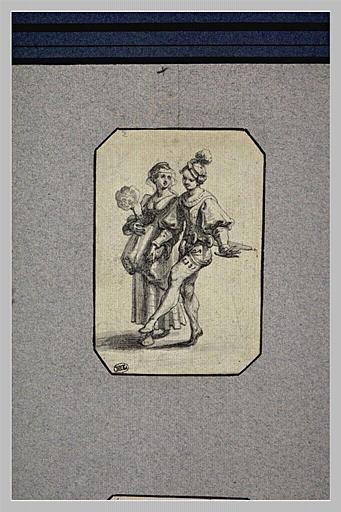 Une femme tenant un éventail, donnant la main à un danseur_0