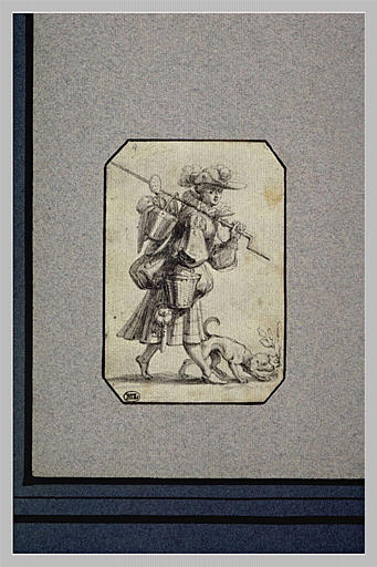 Une cuisinière, en costume élégant, accompagnée d'un chien