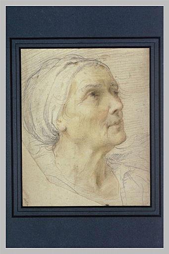Tête de vieille femme en coiffe blanche