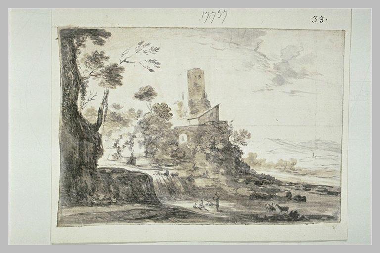 Paysage avec une maison et une tour, et trois figures au pied d'une cascade