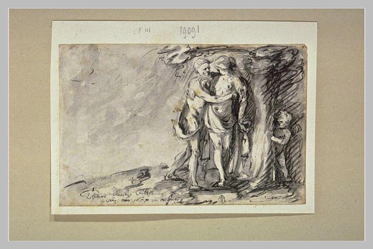 Vieillard enlaçant une jeune femme, un amour se cache derrière un arbre