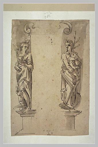 Deux statues : Cérès et figure personnifiant la Religion