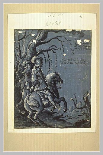 Deux cavaliers au pied d'un arbre mort